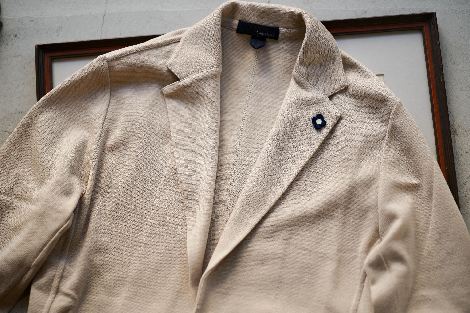 LARDINI (ラルディーニ) Milano Rib Knit Jacket (ミラノリブ ニット ジャケット) コットン ミラノリブ 2B ニットジャケット BEIGE(ベージュ・200) Made in italy (イタリア製) 2019 春夏新作 愛知 名古屋 alto e diritto アルトエデリット
