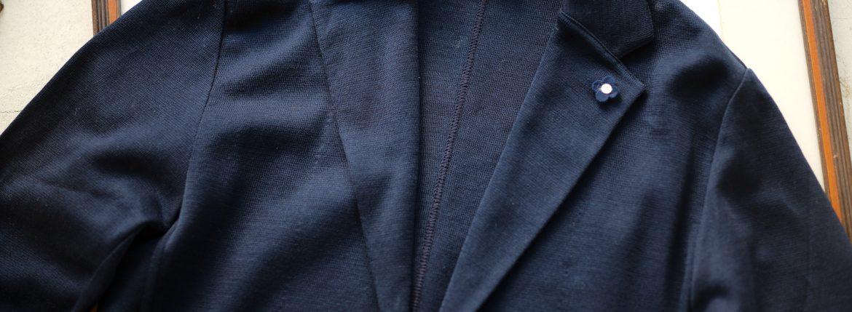 LARDINI (ラルディーニ) Milano Rib Knit Jacket (ミラノリブ ニット ジャケット) コットン ミラノリブ 2B ニットジャケット NAVY (ネイビー・850) Made in italy (イタリア製) 2019 春夏新作のイメージ