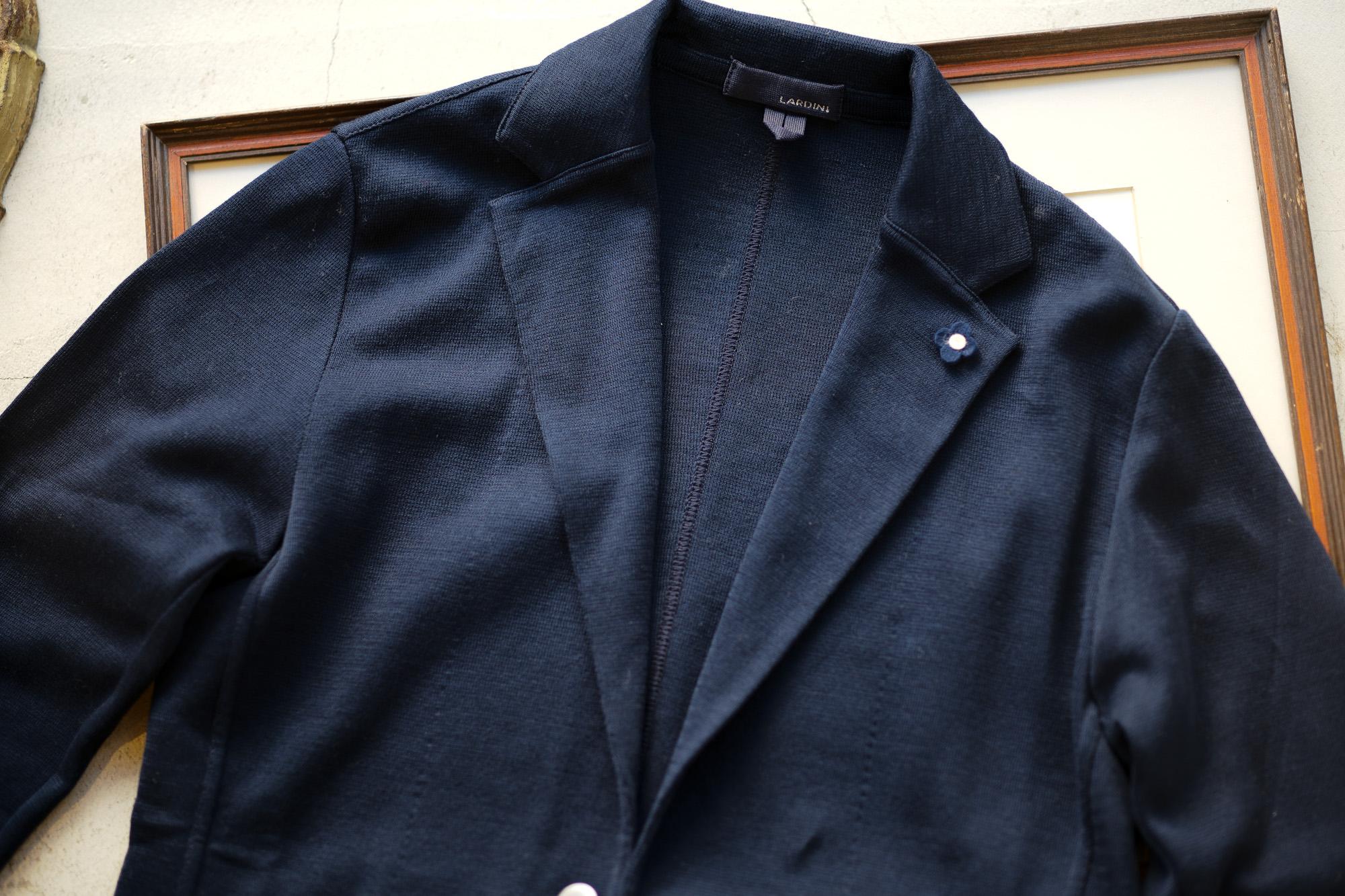 LARDINI (ラルディーニ) Milano Rib Knit Jacket (ミラノリブ ニット ジャケット) コットン ミラノリブ 2B ニットジャケット NAVY (ネイビー・850) Made in italy (イタリア製) 2019 春夏新作 愛知 名古屋 alto e diritto アルトエデリット