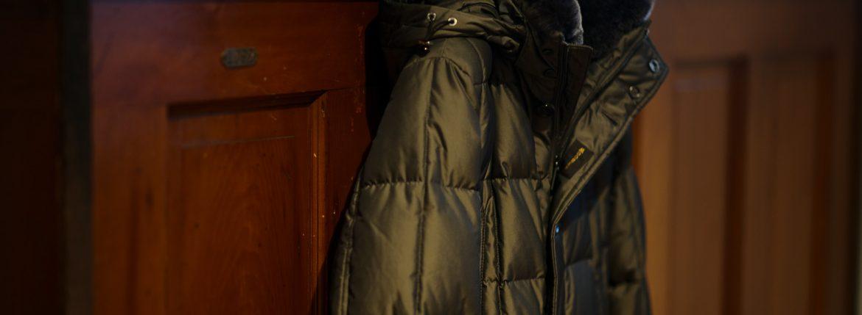 MOORER (ムーレー) BARONI-KM (ヴァローニ) ホワイトグースダウン ラビットファー ナイロン  ダウン ジャケット VISONE (ベージュ・32) , MARMOTIA(ブラウン・33) , BOSCO(オリーブ・55) , LAVAGUA(チャコール・74) , BLUE(ブルー・76) , NERO(ブラック・08)  Made in italy (イタリア製) 【2019 秋冬 受注会開催 2019.1.12~2019.1.20】のイメージ