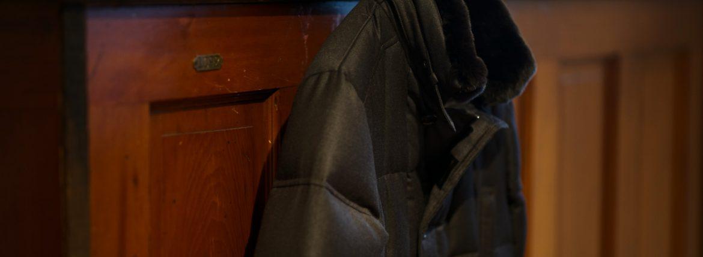 MOORER (ムーレー)MORRIS-L (モーリス) LoroPiana (ロロピアーナ) ウールカシミア ダブルブレスト ダウン コート BEIGE (ベージュ・32) , BROWN(ブラウン・36) , ANTRACITE(チャコールグレー・07) , BLUE GREY(ブルーグレー・75) , BLUE(ブルー・76) , NERO(ブラック・08) ,  Made in italy (イタリア製) 【2019 秋冬 受注会開催 2019.1.12~2019.1.20】のイメージ