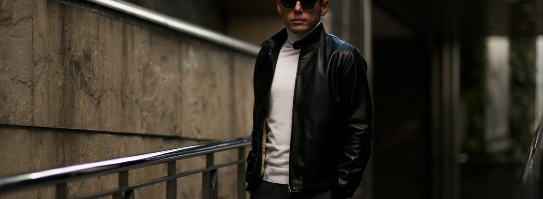 SILENCE (サイレンス) Single Rib Leather Jacket (シングル リブ レザー ジャケット) Lambskin Nappa Leather (ラムナッパ レザー) シングル ライダース ジャケット NERO (ブラック) Made in italy (イタリア製) 2019 春夏新作のイメージ