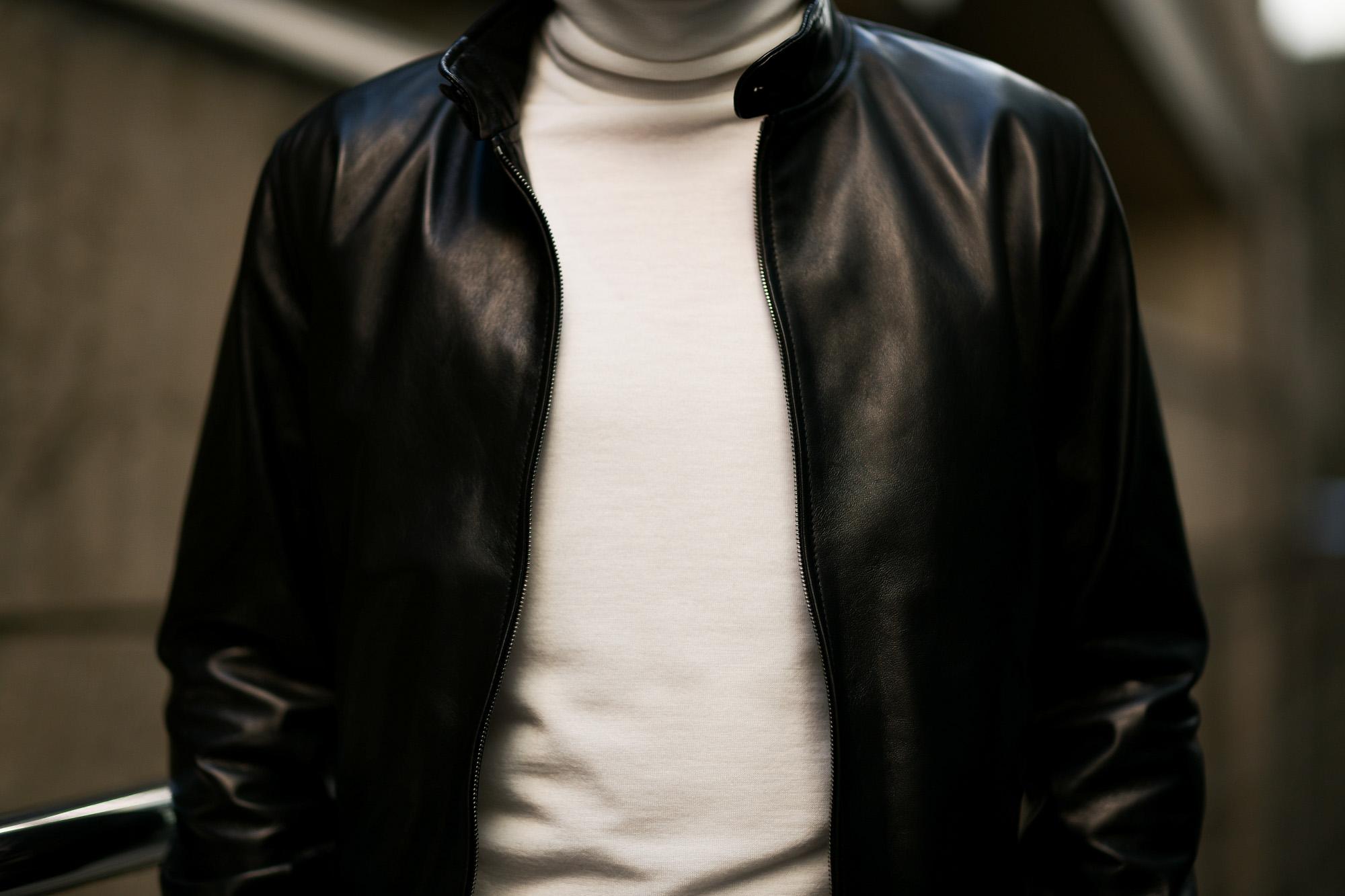 SILENCE (サイレンス) Single Rib Leather Jacket (シングル リブ レザー ジャケット) Lambskin Nappa Leather (ラムナッパ レザー) シングル ライダース ジャケット NERO (ブラック) Made in italy (イタリア製) 2019 春夏新作  愛知 名古屋 東京 大阪 alto e diritto アルトエデリット altoediritto