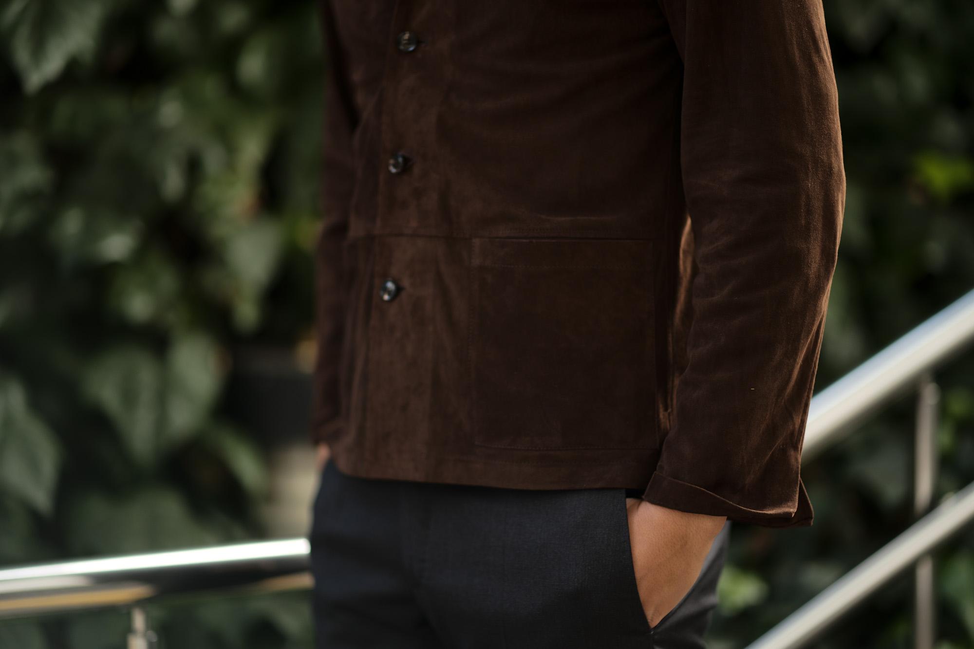 Alfredo Rifujio (アルフレード リフージオ) SS326 CAMOSCIO Summer Suede Leather Shirts サマースウェード レザーシャツ BROWN (ブラウン) made in italy (イタリア製) 2019 春夏 【ご予約受付中】alfredorifujio アルフレードリフージオ 愛知 名古屋 Alto e Diritto アルト エ デリット alto e diritto アルトエデリット レザージャケット 素肌にレザー 42,44,46,48,50,52