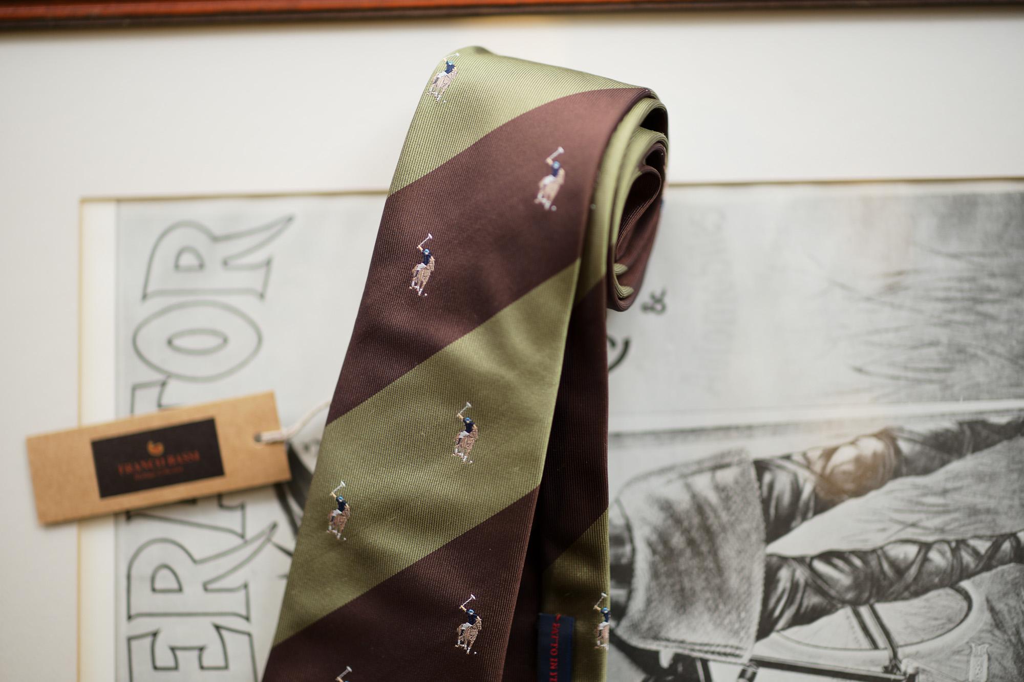 FRANCO BASSI (フランコバッシ) STRIPE TIE (ストライプタイ) シルク ジャガード ストライプ ネクタイ BROWN×SAGE (ブラウン×セージ・5) Made in italy (イタリア製) 2019 春夏新作 francobassi フランコバッシ 愛知 名古屋 altoediritto アルトエデリット タイ ネクタイ