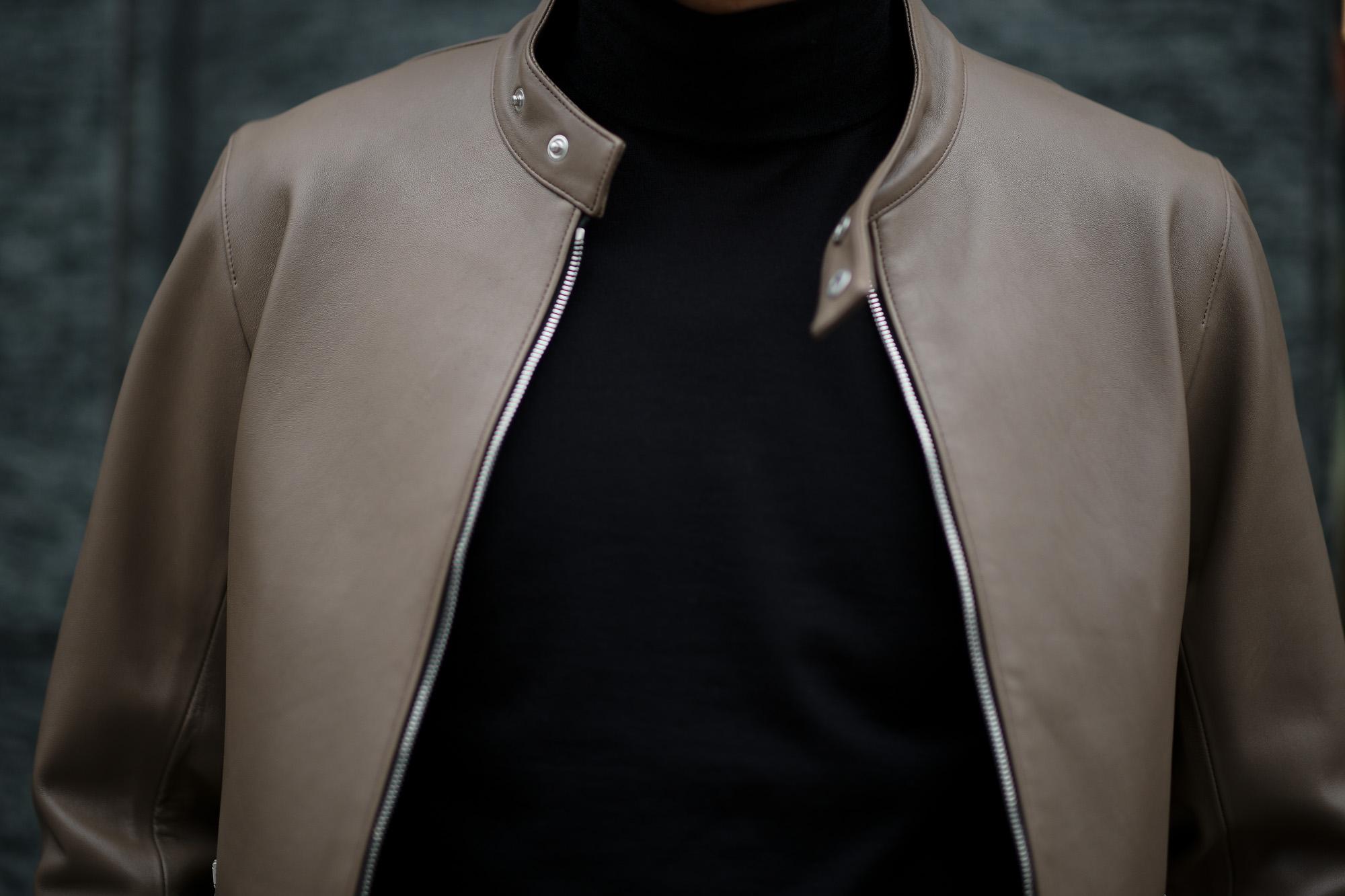 Georges de Patricia (ジョルジュ ド パトリシア) Carrera (カレラ) 925 STERLING SILVER (925 スターリングシルバー) Super Soft Sheepskin シングル ライダース ジャケット GREGE (グレージュ) 2019 春夏新作 【限定スペシャルカラー】 georgesdepatricia ジョルジュドパトリシア カレラ ポルシェ  愛知 alto e diritto アルトエデリット altoediritto
