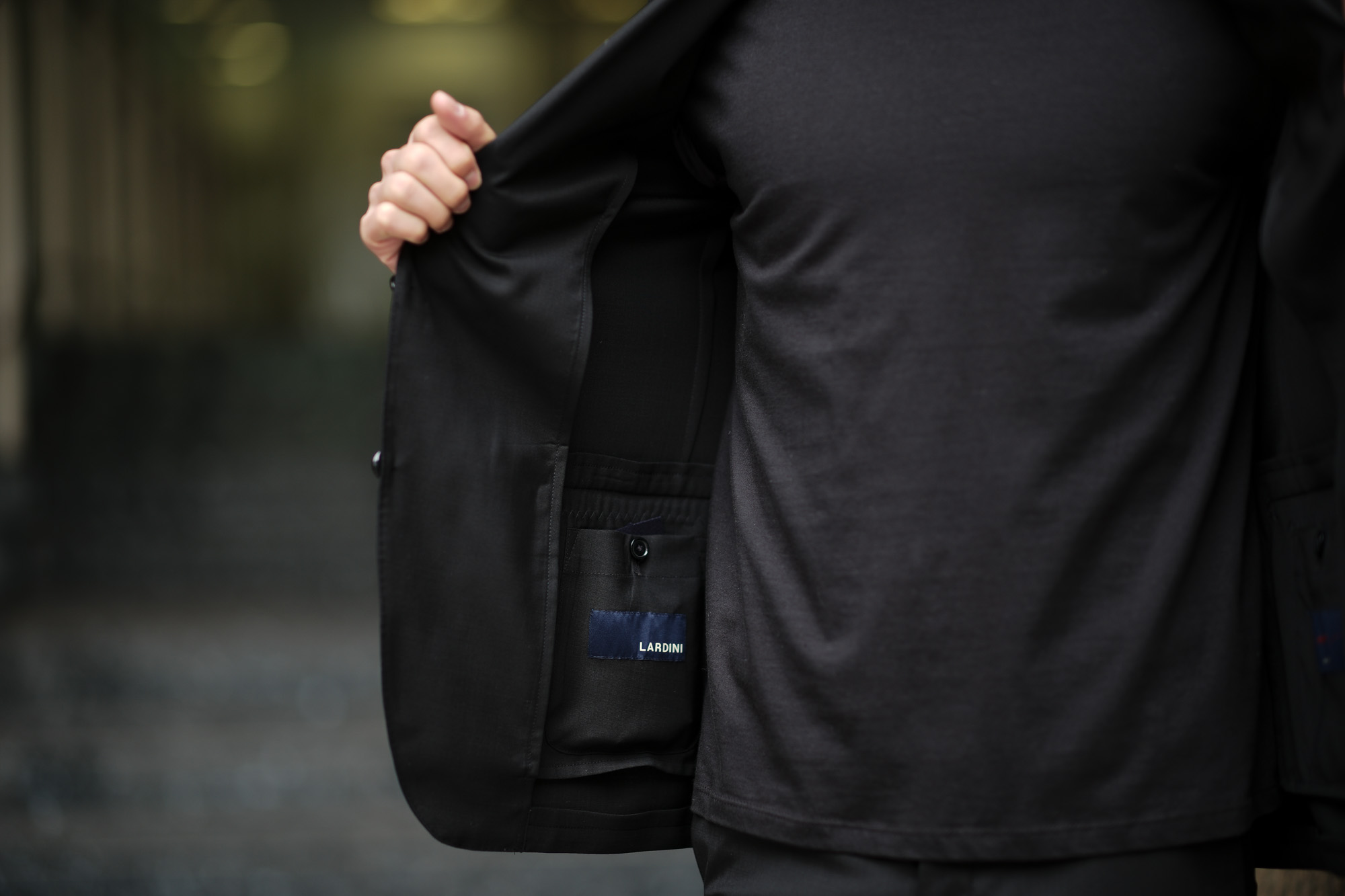 LARDINI (ラルディーニ) EASY WEAR (イージーウエア) Pakkaburu Suit (パッカブル スーツ) トロピカルウール パッカブル ストレッチ スーツ BLACK (ブラック・306) made in italy (イタリア製) 2019 春夏新作 愛知 名古屋 altoediritto アルトエデリット