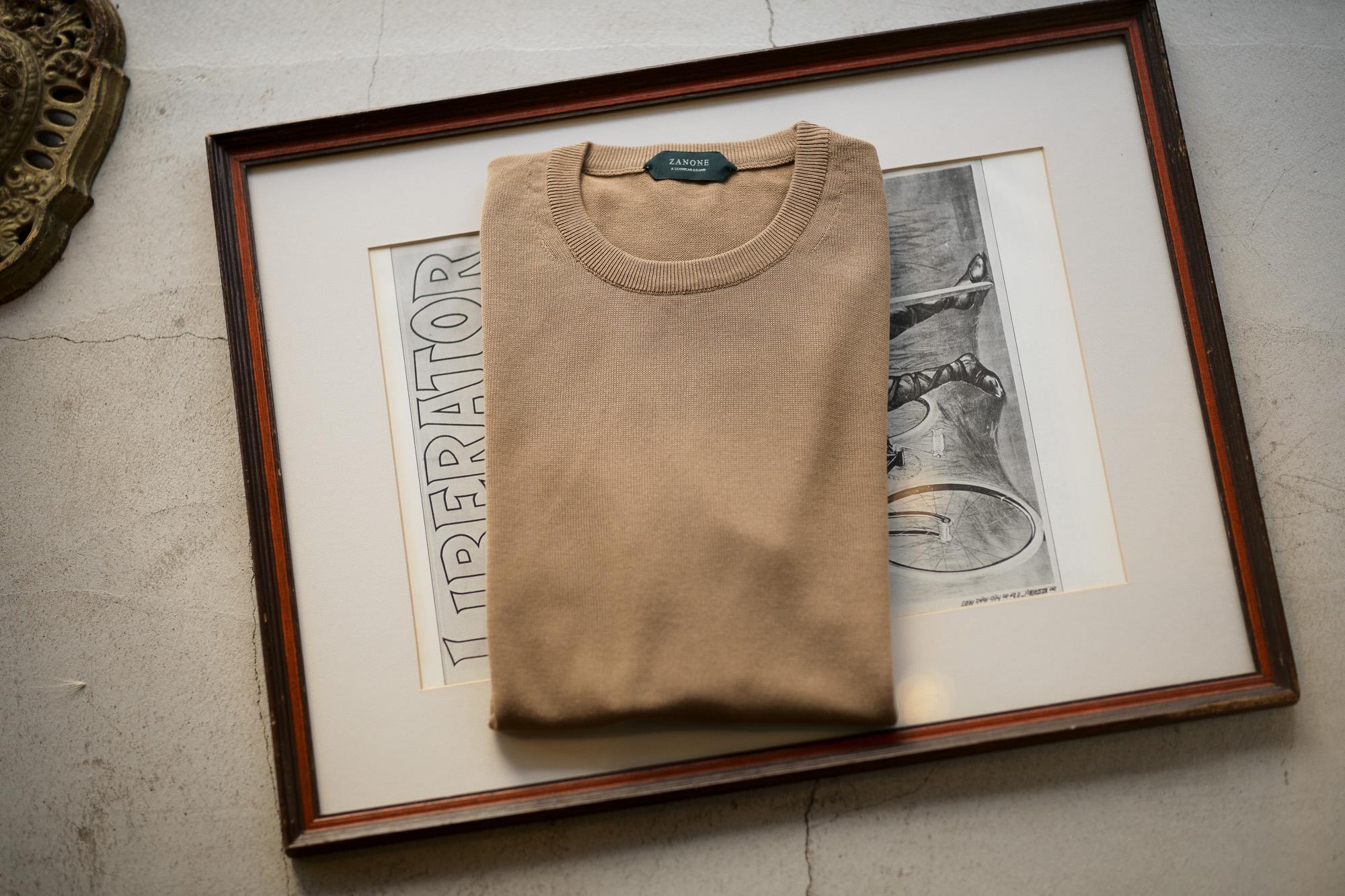 ZANONE (ザノーネ) Crew Neck Sweater (クルーネックセーター) コットンニット サマーセーター BEIGE (ベージュ・Z0866) made in italy (イタリア製) 2019 秋冬新作 愛知 名古屋 altoediritto アルトエデリット