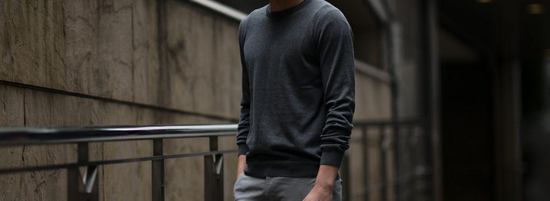 ZANONE (ザノーネ) Crew Neck Sweater (クルーネックセーター) コットンニット サマーセーター CHARCOAL GRAY (チャコールグレー・Z3340) made in italy (イタリア製) 2019 春夏新作 愛知 名古屋 altoediritto アルトエデリット