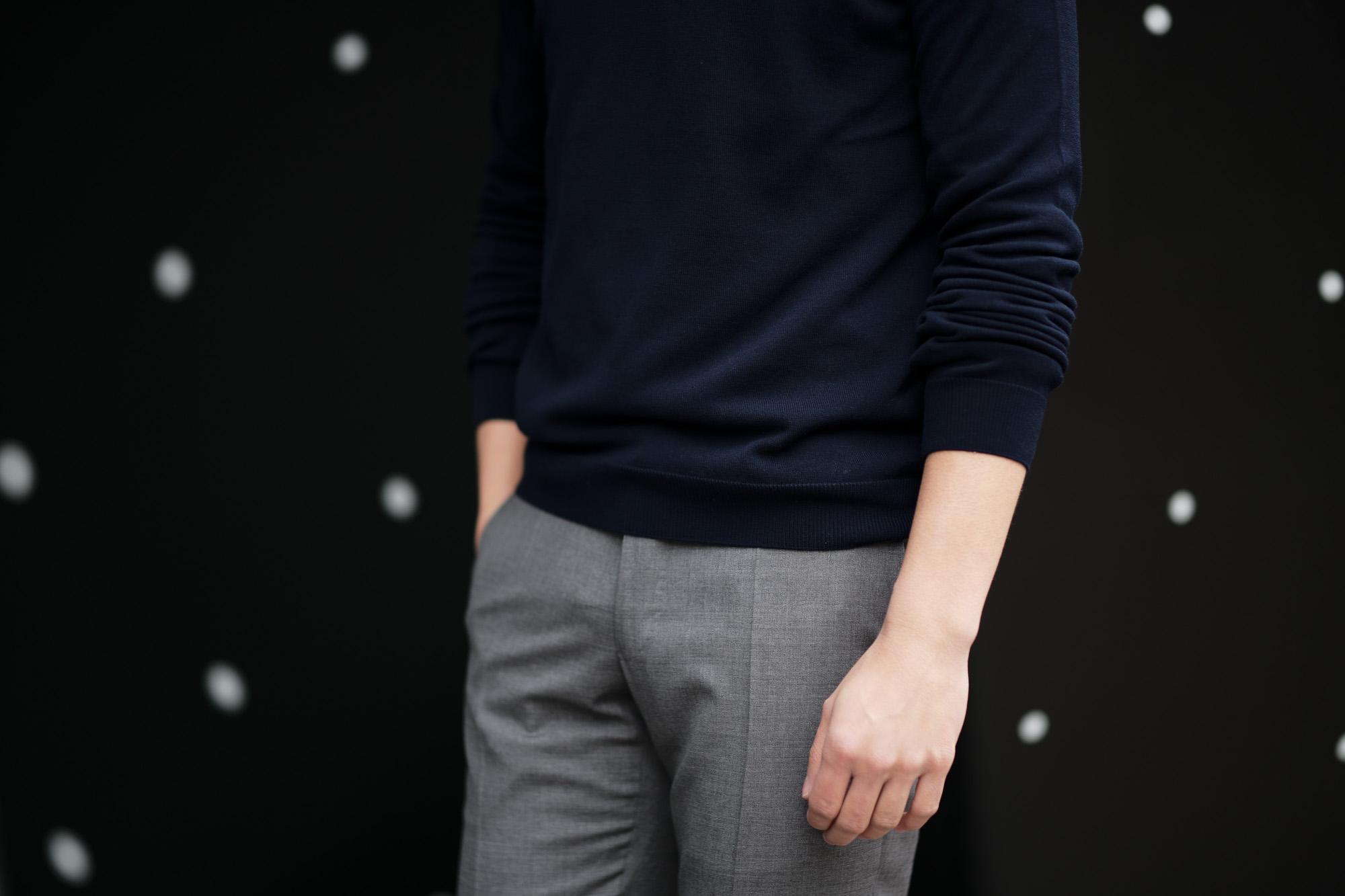 ZANONE (ザノーネ) Crew Neck Sweater (クルーネックセーター) コットンニット サマーセーター NAVY (ネイビー・Z0542)  made in italy (イタリア製) 2019 春夏新作 愛知 名古屋 altoediritto アルトエデリット