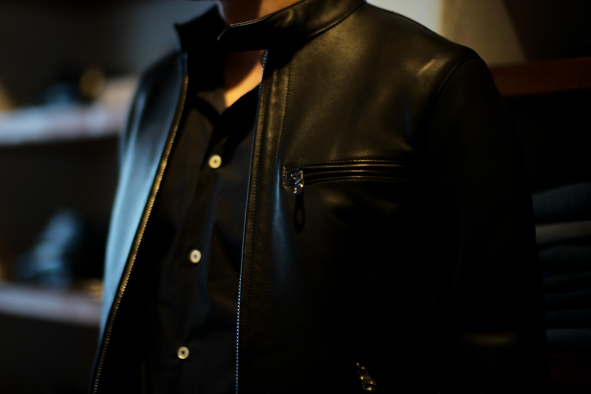 CINQUANTA(チンクアンタ) H502 STAND COLLAR RIDERS (スタンド カラー ジャケット) NAPPA LEATHER ナッパレザー シングル ライダース ジャケット BLACK SILVER (ブラック シルバー・999) Made in italy (イタリア製) 2019 秋冬 【第1便ご予約受付中】cinquanta チンクアンタ レザージャケット 愛知 名古屋 Alto e Diritto アルト エ デリット アルトエデリット