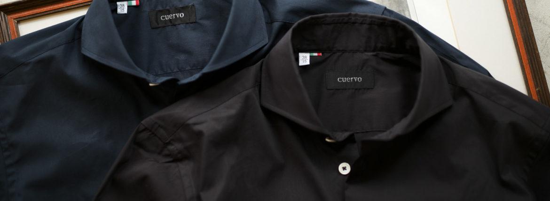 Cuervo (クエルボ) Sartoria Collection (サルトリア コレクション) Pier(ピエル) STRETCH COTTON ストレッチコットン シャツ BLACK (ブラック),NAVY(ネイビー) MADE IN ITALY (イタリア製) 2019 春夏新作のイメージ
