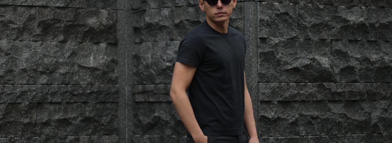 FEDELI (フェデーリ) Crew Neck T-shirt (クルーネック Tシャツ) ギザコットン Tシャツ BLACK (ブラック・36) made in italy (イタリア製) 2019 春夏新作のイメージ