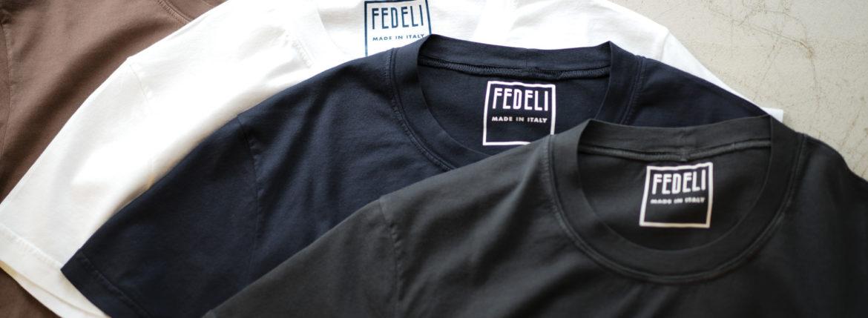 FEDELI (フェデーリ) Crew Neck T-shirt (クルーネック Tシャツ) ギザコットン Tシャツ BROWN (ブラウン・902),WHITE (ホワイト・41),NAVY (ネイビー・626),BLACK (ブラック・36) made in italy (イタリア製) 2019 春夏新作のイメージ