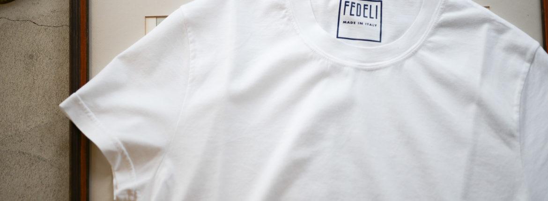 FEDELI (フェデーリ) Crew Neck T-shirt (クルーネック Tシャツ) ギザコットン Tシャツ WHITE (ホワイト・41) made in italy (イタリア製) 2019 春夏新作のイメージ