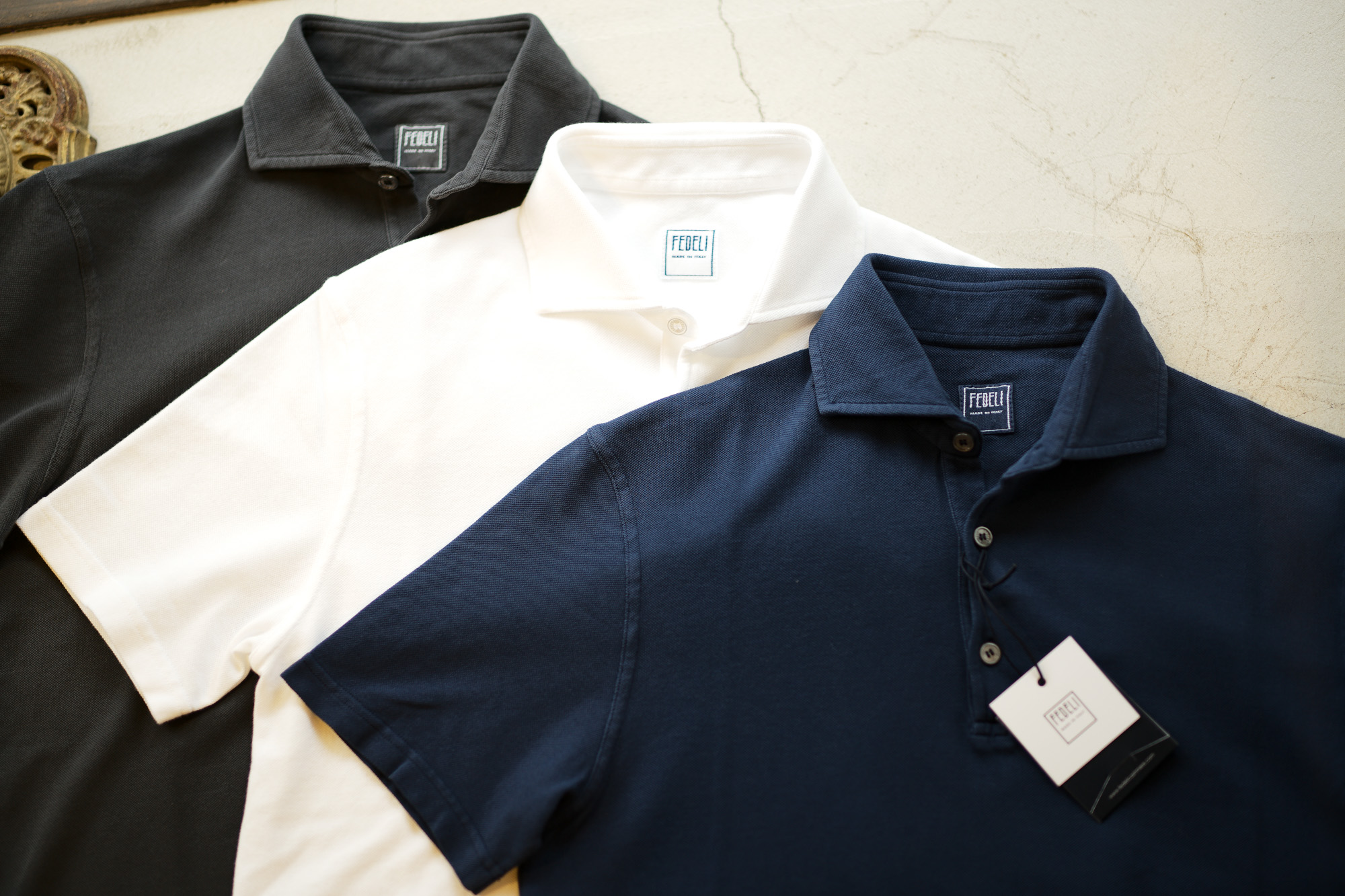 FEDELI (フェデーリ) Piquet Polo Shirt (ピケ ポロシャツ) カノコ ポロシャツ BLACK(ブラック・36),WHITE (ホワイト・41),NAVY(ネイビー・2) made in italy (イタリア製) 2019 春夏新作 愛知 名古屋 altoediritto アルトエデリット