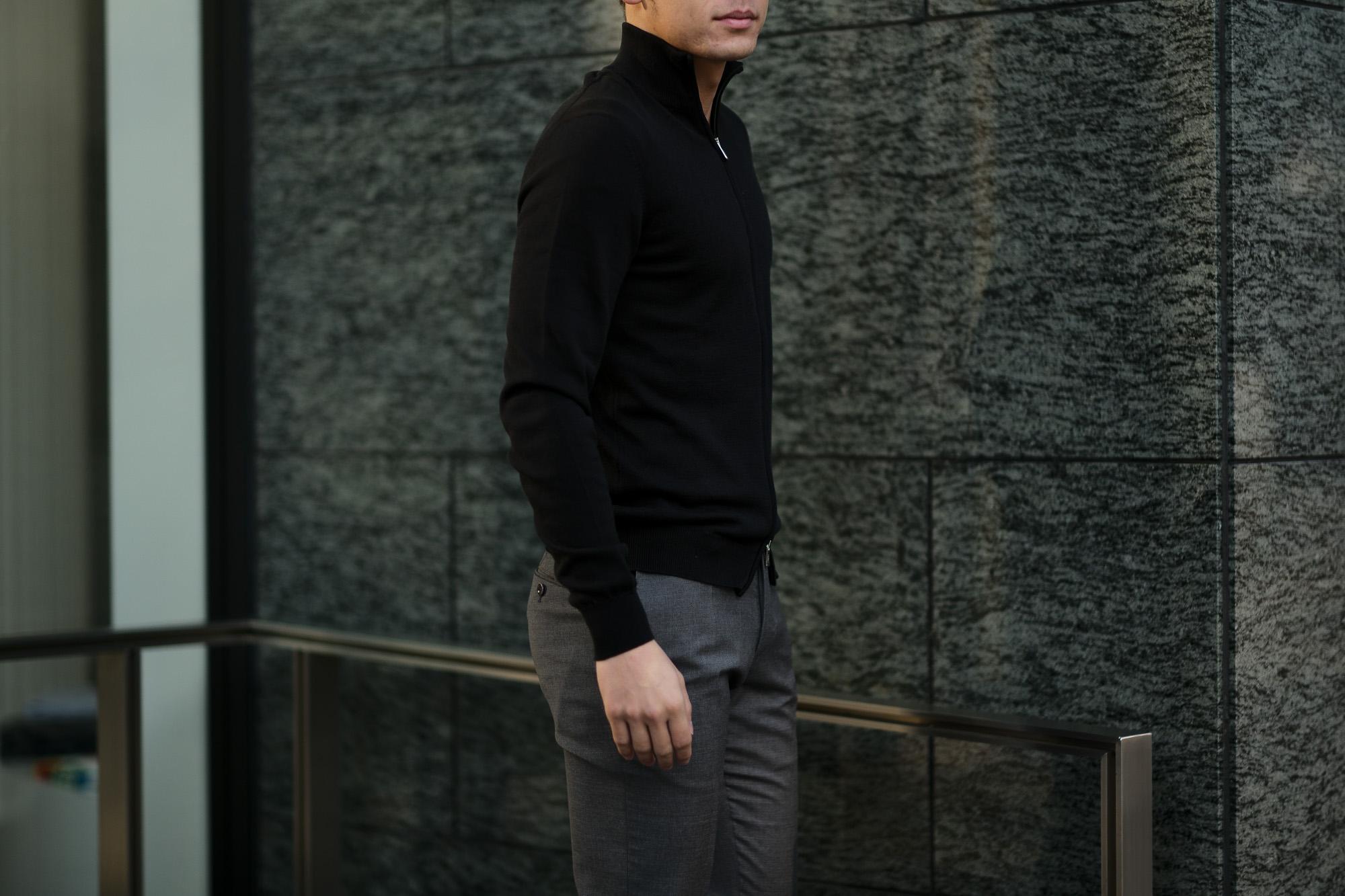 FEDELI (フェデーリ) Zip Up Cardigan (ジップアップ カーディガン) スーピマコットン ニット カーディガン BLACK (ブラック・36) made in italy (イタリア製) 2019 春夏新作 愛知 名古屋 altoediritto アルトエデリット