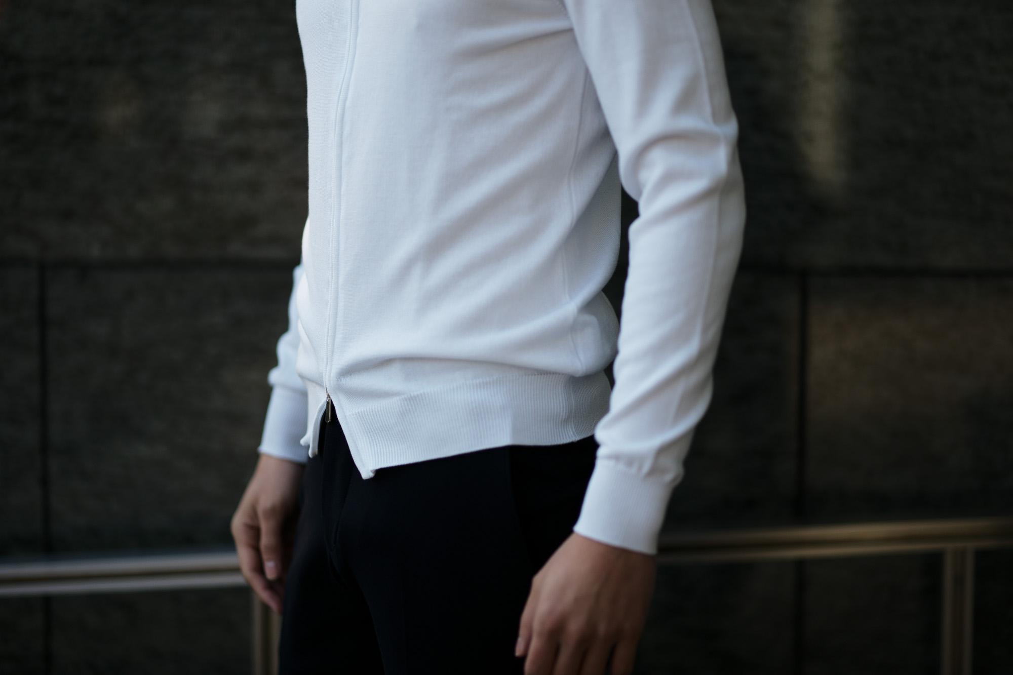 FEDELI (フェデーリ) Zip Up Cardigan (ジップアップ カーディガン) スーピマコットン ニット カーディガン WHITE (ホワイト・41) made in italy (イタリア製) 2019 春夏新作 愛知 名古屋 altoediritto アルトエデリット