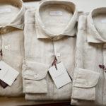 Glanshirt (グランシャツ) Linen Shirt (リネンシャツ) Natural Linen Garment Dyed カッタウェイ リネン シャツ BEIGE (ベージュ・425) made in italy (イタリア製) 2019 春夏新作のイメージ