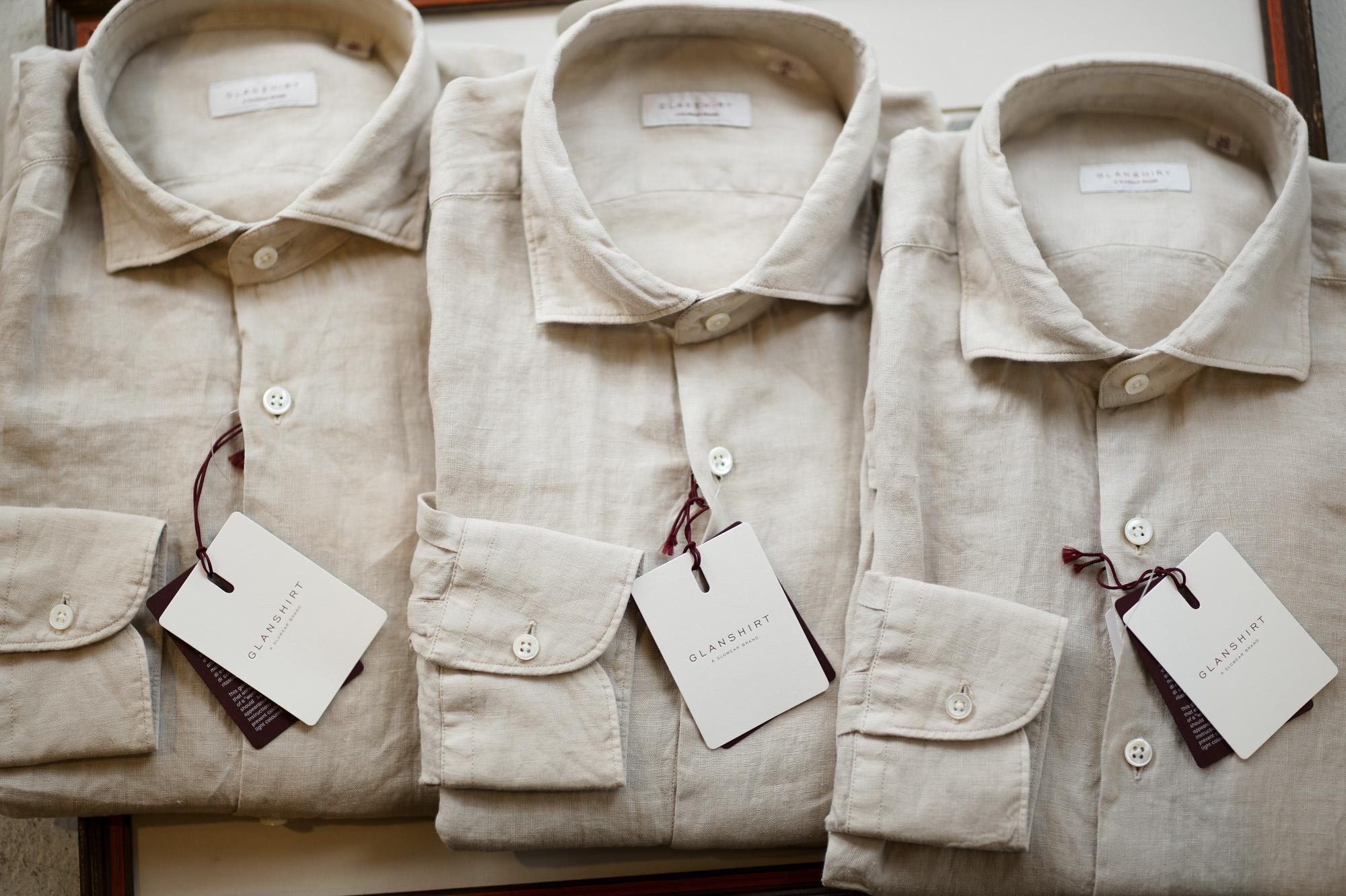 Glanshirt (グランシャツ) Linen Shirt (リネンシャツ) Natural Linen Garment Dyed カッタウェイ リネン シャツ BEIGE (ベージュ・425) made in italy (イタリア製) 2019 春夏新作 愛知 名古屋 altoediritto アルトエデリット