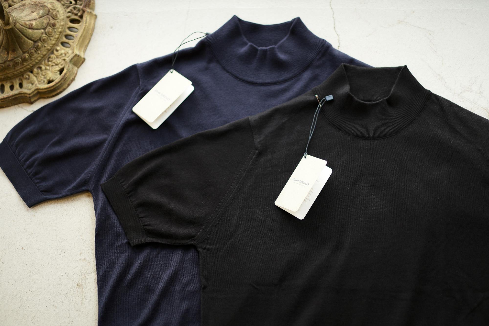 JOHN SMEDLEY (ジョンスメドレー) S3813 Mock neck T-shirt SEA ISLAND COTTON (シーアイランドコットン) コットンニット モックネック Tシャツ NAVY (ネイビー) , BLACK (ブラック) Made in England (イギリス製) 2019 春夏新作 johnsmedley 愛知 名古屋 altoediritto アルトエデリット