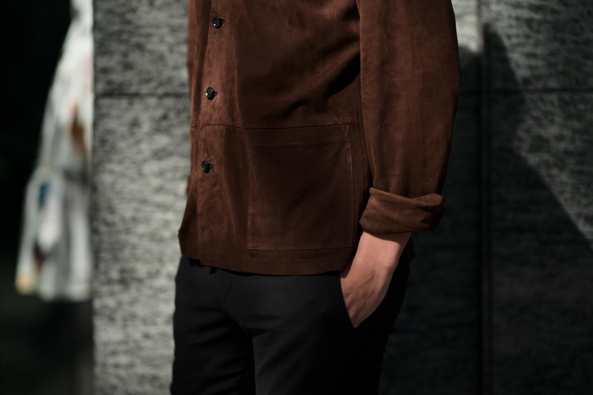 Alfredo Rifujio (アルフレード リフージオ) SS326 CAMOSCIO Summer Suede Leather Shirts サマースウェード レザーシャツ BROWN (ブラウン) made in italy (イタリア製) 2019 春夏新作 alfredorifujio アルフレードリフージオ 愛知 名古屋 Alto e Diritto アルト エ デリット alto e diritto アルトエデリット レザージャケット 素肌にレザー 42,44,46,48,50,52