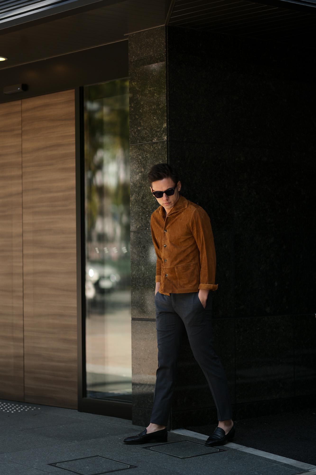 Alfredo Rifujio (アルフレード リフージオ) SS326 CAMOSCIO Summer Suede Leather Shirts サマースウェード レザーシャツ CAMEL (キャメル) made in italy (イタリア製) 2019 春夏新作  alfredorifujio アルフレードリフージオ 愛知 名古屋 Alto e Diritto アルト エ デリット alto e diritto アルトエデリット レザージャケット 素肌にレザー 42,44,46,48,50,52
