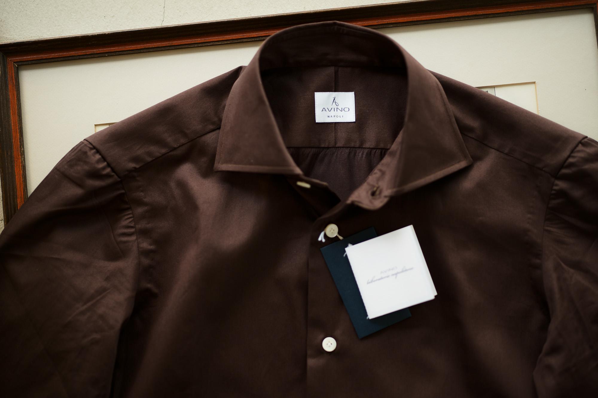 AVINO(アヴィーノ) Poplin Dress Shirts コットン ブロード ポプリン ドレスシャツ BROWN(ブラウン) made in italy (イタリア製) 2019 秋冬 愛知 名古屋 altoediritto アルトエデリット