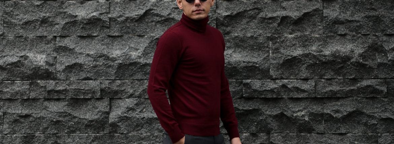 Cuervo (クエルボ) Sartoria Collection (サルトリア コレクション) John(ジョン) Turtle Neck Sweater (タートルネックセーター) ウールニット セーター BORDEAUX (ボルドー) MADE IN JAPAN (日本製) 2019 秋冬  【ご予約受付開始】のイメージ