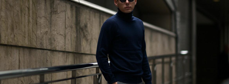 Cuervo (クエルボ) Sartoria Collection (サルトリア コレクション) John(ジョン) Turtle Neck Sweater (タートルネックセーター) ウールニット セーター NAVY (ネイビー) MADE IN JAPAN (日本製) 2019 秋冬 【ご予約受付開始】のイメージ
