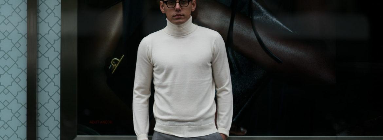 Cuervo (クエルボ) Sartoria Collection (サルトリア コレクション) John(ジョン) Turtle Neck Sweater (タートルネックセーター) ウールニット セーター WHITE (ホワイト) MADE IN JAPAN (日本製) 2019 秋冬 【ご予約受付開始】のイメージ