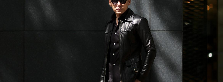 Cuervo (クエルボ) Satisfaction Leather Collection (サティスファクション レザー コレクション) East West(イーストウエスト)  SMOKE(スモーク) BUFFALO LEATHER (バッファロー レザー) レザージャケット BLACK(ブラック) MADE IN JAPAN (日本製) 2019 秋冬 【ご予約開始します】のイメージ