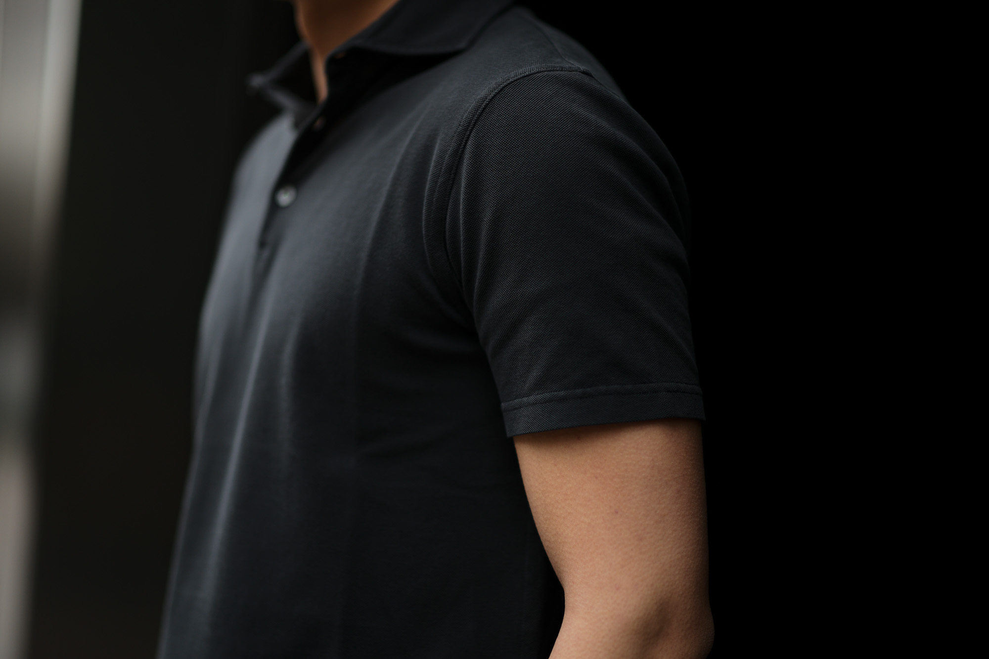 FEDELI (フェデーリ) Piquet Polo Shirt (ピケ ポロシャツ) カノコ ポロシャツ BLACK(ブラック・36) made in italy (イタリア製) 2019 春夏新作 愛知 名古屋 altoediritto アルトエデリット