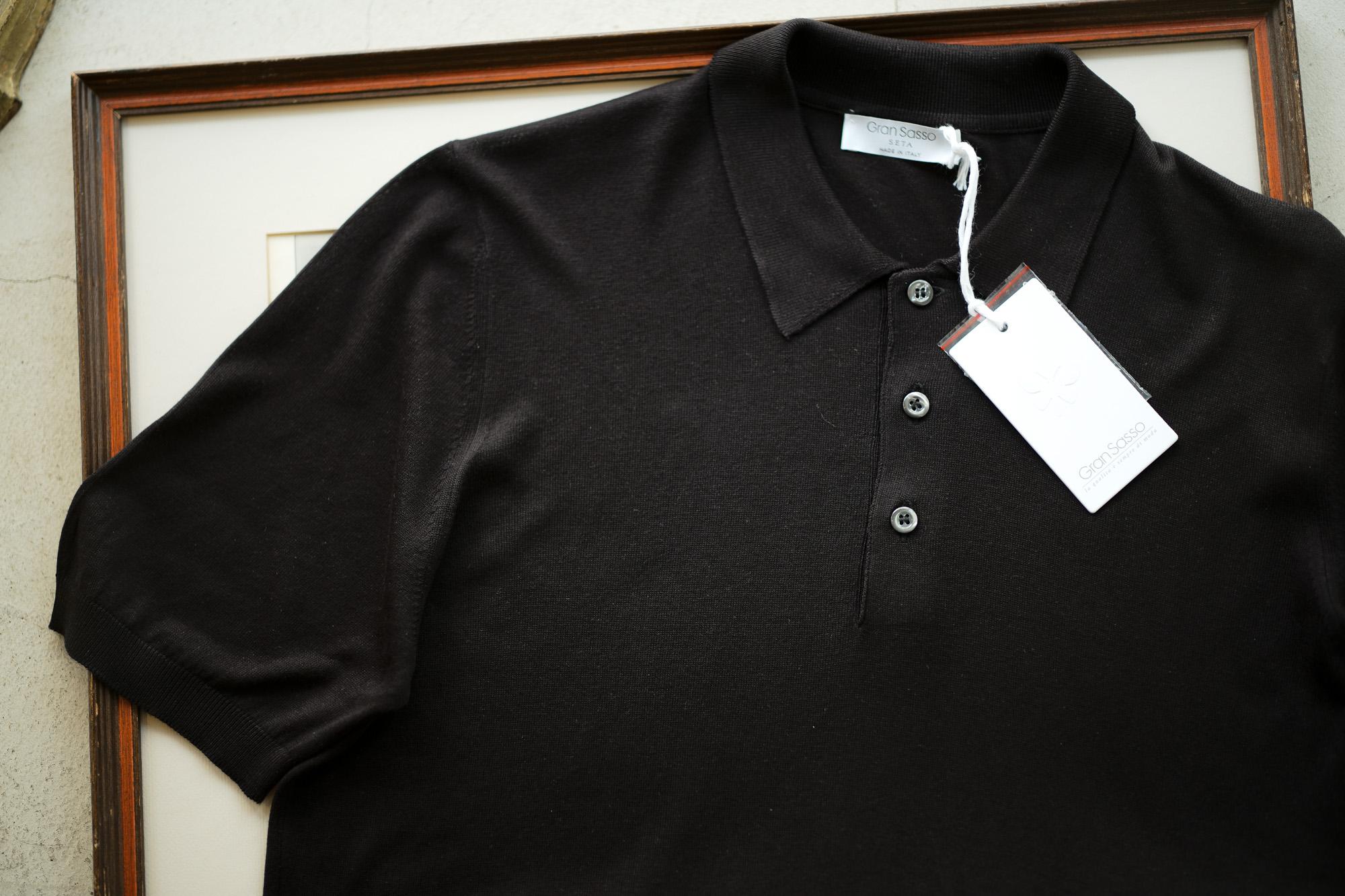 Gran Sasso (グランサッソ) Silk Knit Polo Shirt (シルクニット ポロシャツ) SETA (シルク 100%) シルク ニット ポロシャツ BLACK (ブラック・099) made in italy (イタリア製) 2019 春夏新作 gransasso 愛知 名古屋 altoediritto アルトエデリット