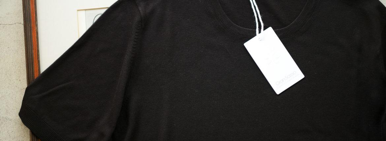 Gran Sasso (グランサッソ) Silk Knit T-shirt (シルクニット Tシャツ) SETA (シルク 100%) ショートスリーブ シルク ニット Tシャツ BLACK (ブラック・303) made in italy (イタリア製) 2019 春夏新作 gransasso 愛知 名古屋 altoediritto アルトエデリット