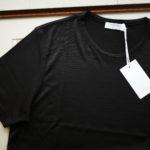 Gran Sasso (グランサッソ) Silk T-shirt (シルク Tシャツ) SETA (シルク 100%) ショートスリーブ シルク Tシャツ BLACK (ブラック・303) made in italy (イタリア製) 2019 春夏新作のイメージ