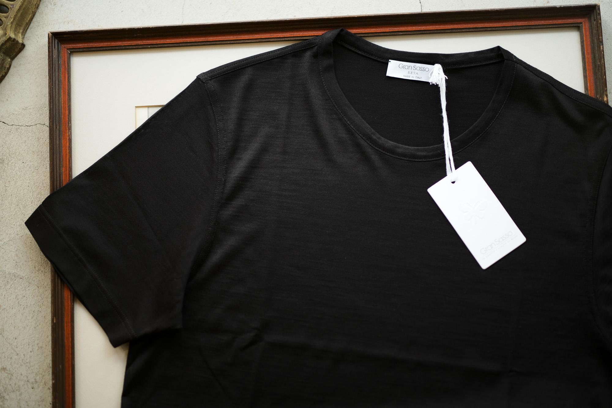 Gran Sasso (グランサッソ) Silk T-shirt (シルク Tシャツ) SETA (シルク 100%) ショートスリーブ シルク Tシャツ BLACK (ブラック・303) made in italy (イタリア製) 2019 春夏新作 gransasso 愛知 名古屋 altoediritto アルトエデリット