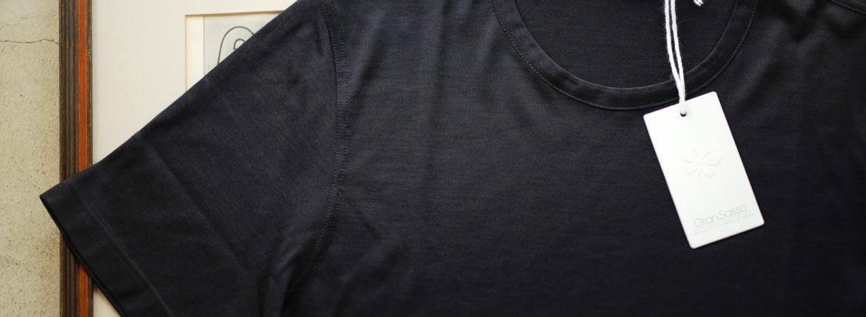 Gran Sasso (グランサッソ) Silk T-shirt (シルク Tシャツ) SETA (シルク 100%) ショートスリーブ シルク Tシャツ NAVY (ネイビー・308) made in italy (イタリア製) 2019 春夏新作 gransasso 愛知 名古屋 altoediritto アルトエデリット
