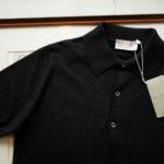JOHN SMEDLEY (ジョンスメドレー) IMPERIAL KASHMIR (カシミアシリーズ) HADDON (ハードン) CASHMERE × SEA ISLAND COTTON (カシミア × シーアイランドコットン) ショートスリーブ コットンカシミヤニット ポロシャツ BLACK(ブラック)  Made in England (イギリス製) 2019 春夏新作のイメージ