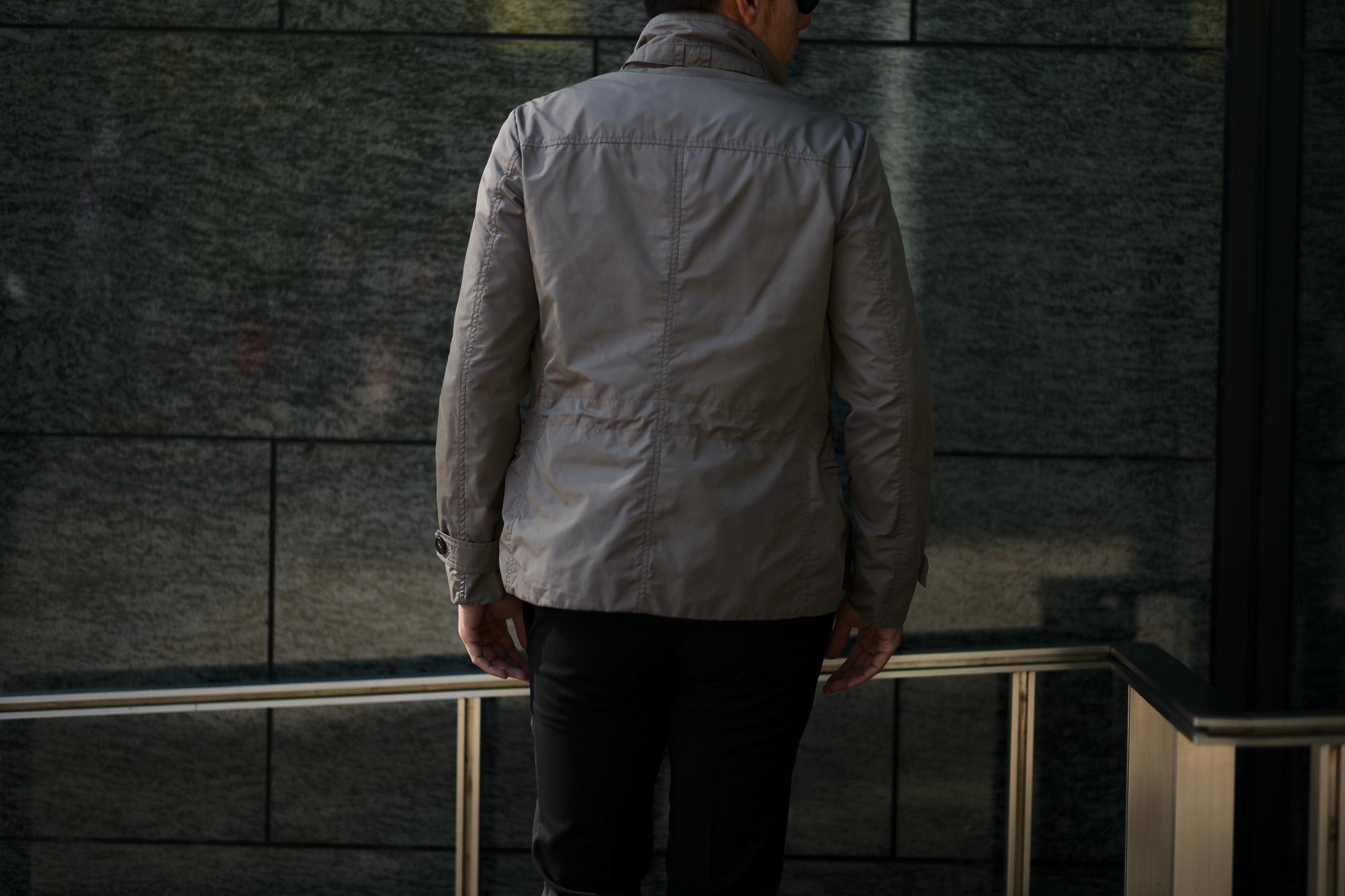 MOORER (ムーレー) NABUCCO-KM (ナブッコ) ダブルブレスト スタンドカラー ナイロン ジャケット VISONE (グレージュ) Made in italy (イタリア製) 2019 春夏新作 愛知 名古屋 alto e diritto アルトエデリット