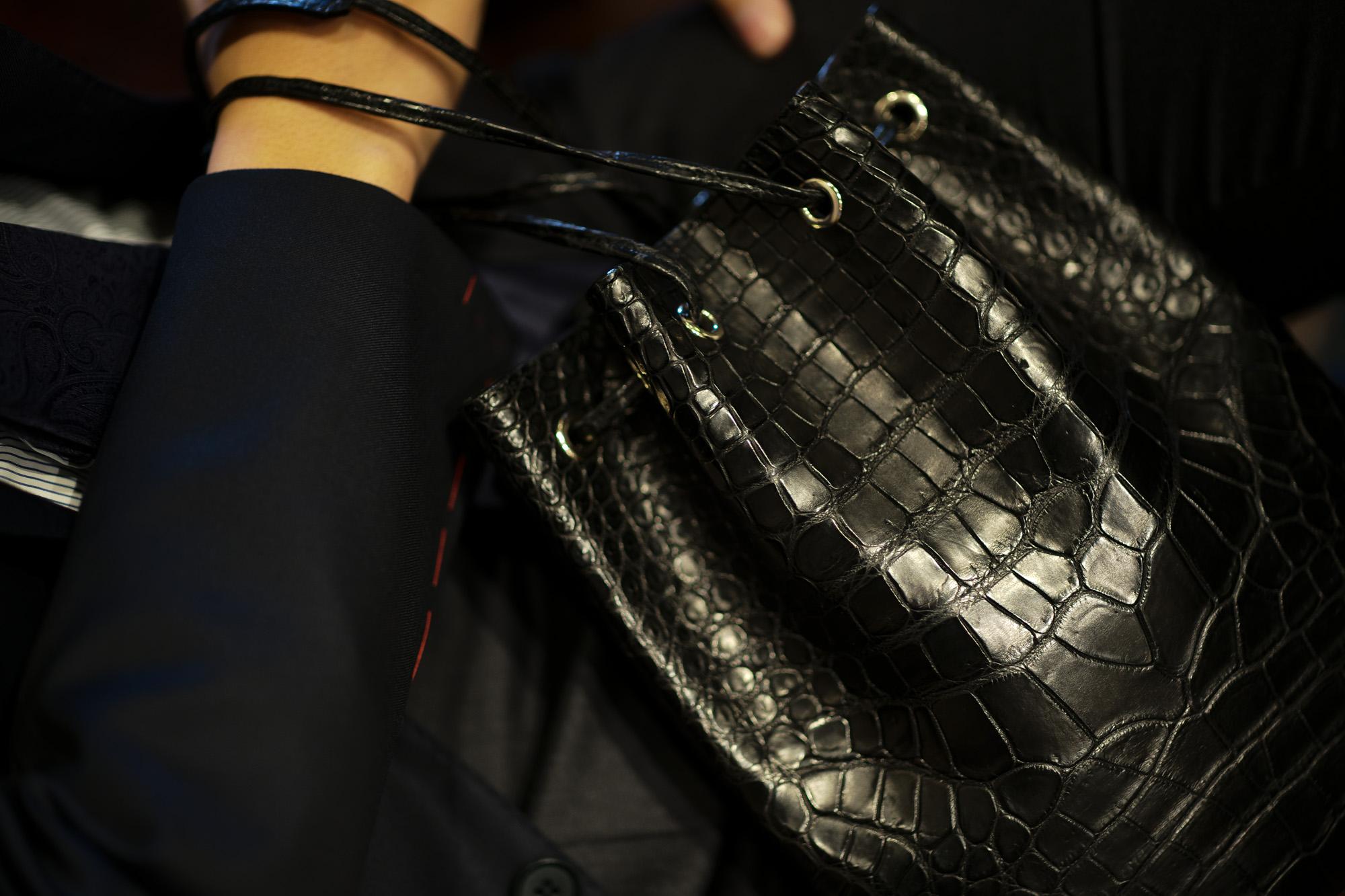 Cisei × 山本製鞄 (シセイ × 山本製鞄) Crocodile Bag(クロコダイルバック) Nile Crocodile Leather (ワニ革) ナイル クロコダイル レザードローストリングバック 巾着  BLACK(ブラック)  Made in Japan (日本製) 2019 秋冬 【超絶 限定モデル】【ご予約開始】愛知 名古屋 altoediritto アルトエデリット
