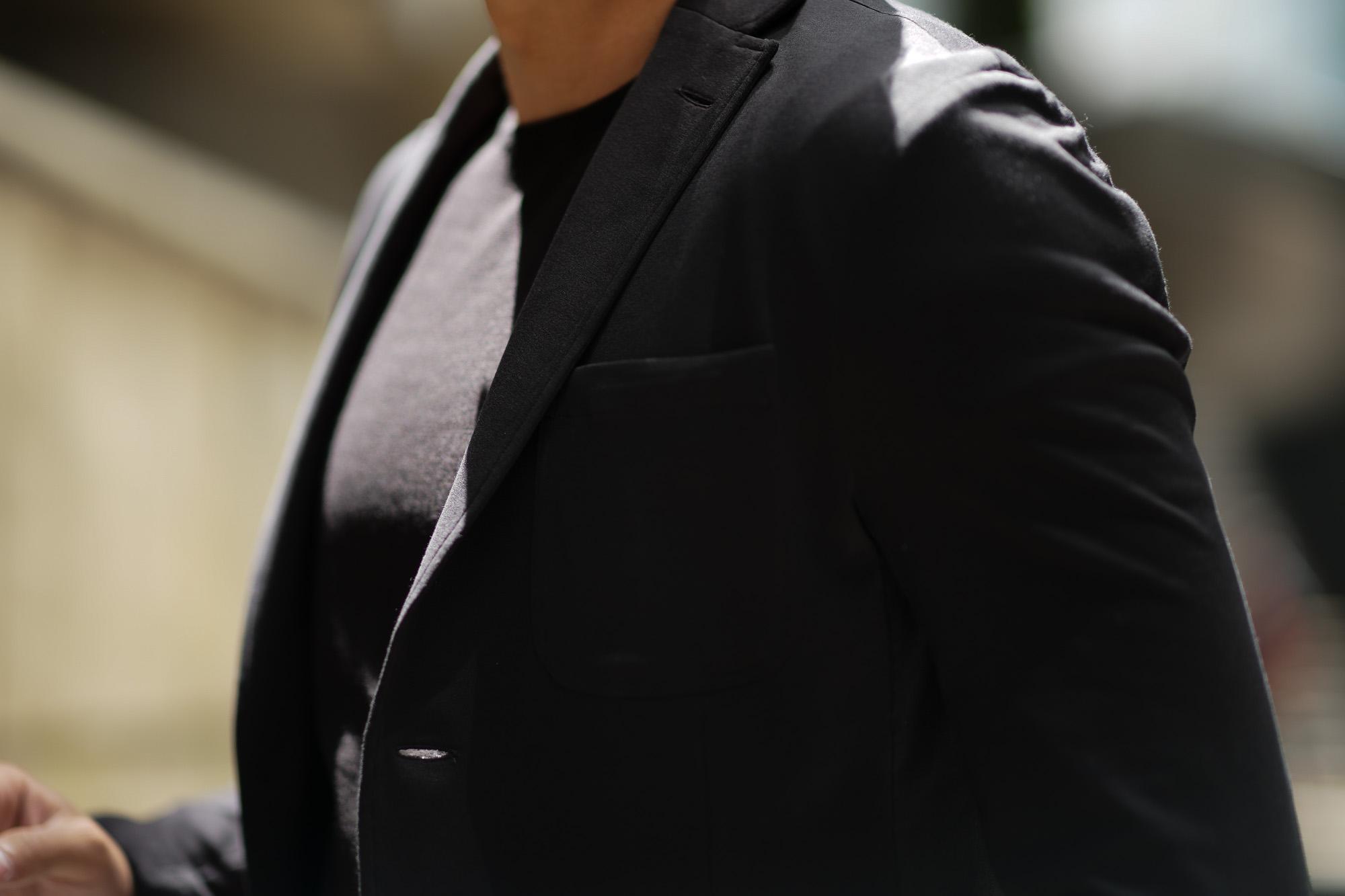 Cruciani (クルチアーニ) Cotton Jersey Jacket (コットンジャージージャケット) Micro Smooth Cotton マイクロスムースコットン ニット ジャケット BLACK (ブラック・2000) made in italy (イタリア製) 2019 春夏新作 愛知 名古屋 altoediritto アルトエデリット