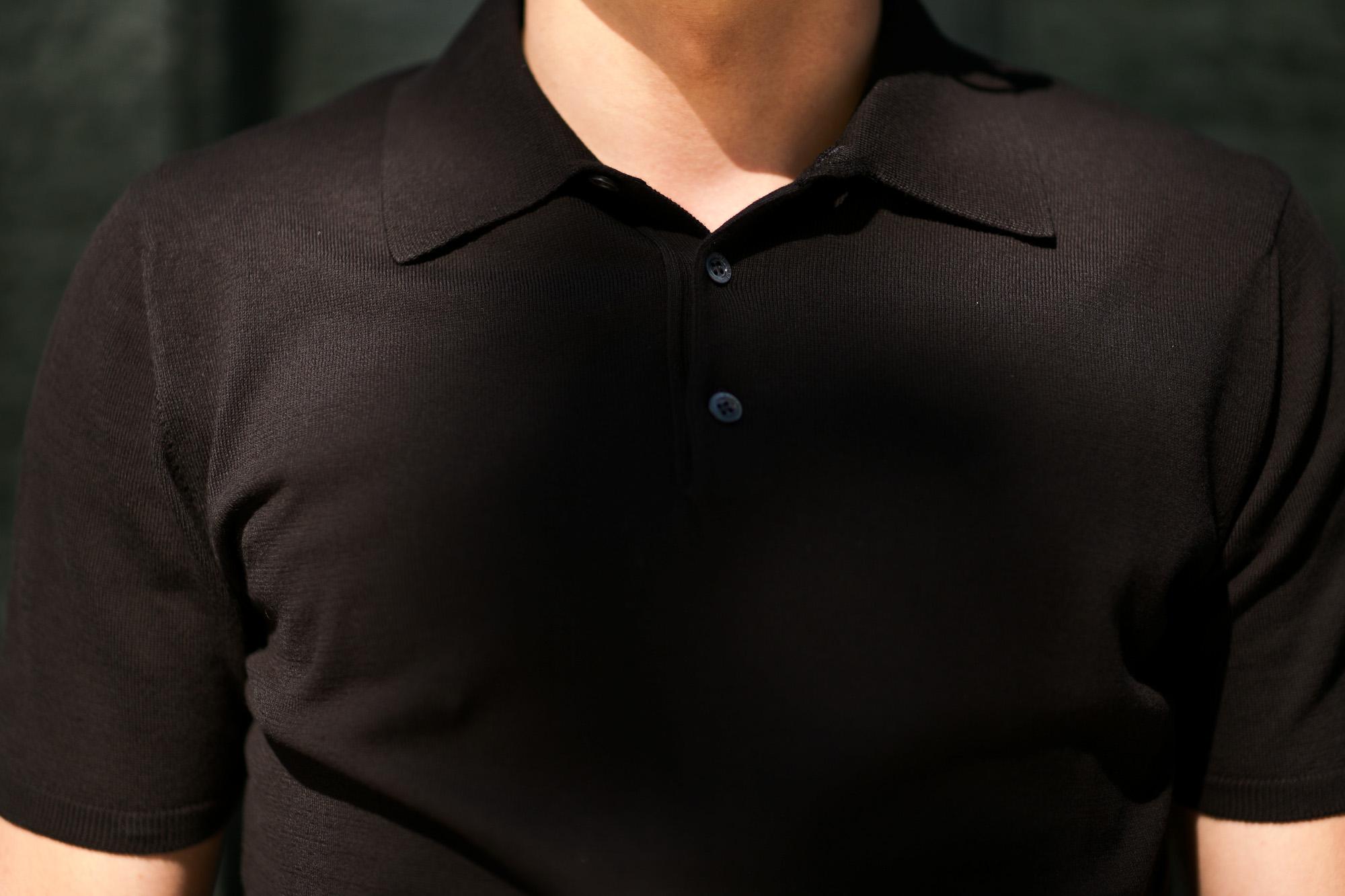 Cruciani (クルチアーニ) Knit Polo Shirt (ニット ポロシャツ) 27ゲージ コットン ニット ポロシャツ BLACK (ブラック・Z0048) made in italy (イタリア製) 2019 春夏新作 愛知 名古屋 altoediritto アルトエデリット