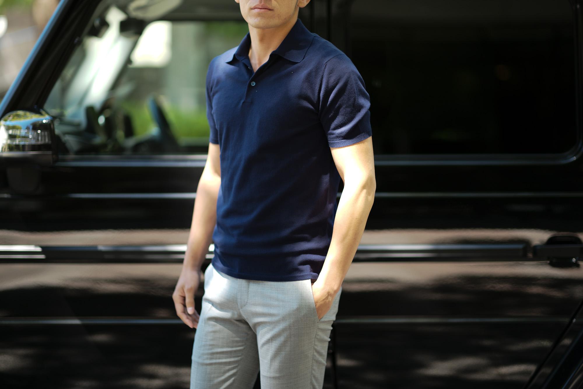 Cruciani (クルチアーニ) Knit Polo Shirt (ニット ポロシャツ) 27ゲージ コットン ニット ポロシャツ NAVY (ネイビー・Z0063) made in italy (イタリア製) 2019 春夏新作 愛知 名古屋 altoediritto アルトエデリット