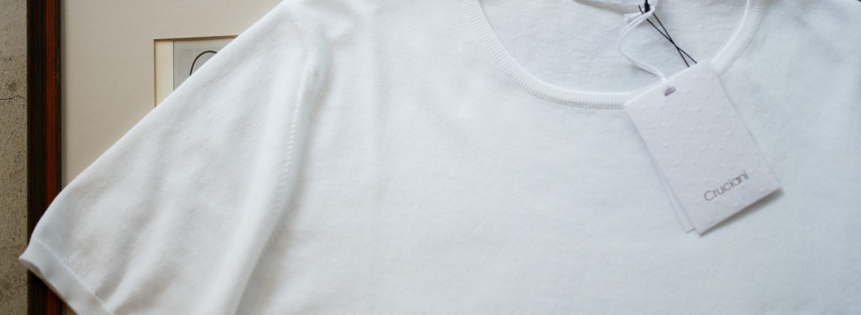 Cruciani (クルチアーニ) Knit T-shirt (ニット Tシャツ) 27ゲージ コットン ニット Tシャツ WHITE (ホワイト・Z0001) made in italy (イタリア製) 2019 春夏新作 愛知 名古屋 altoediritto アルトエデリット