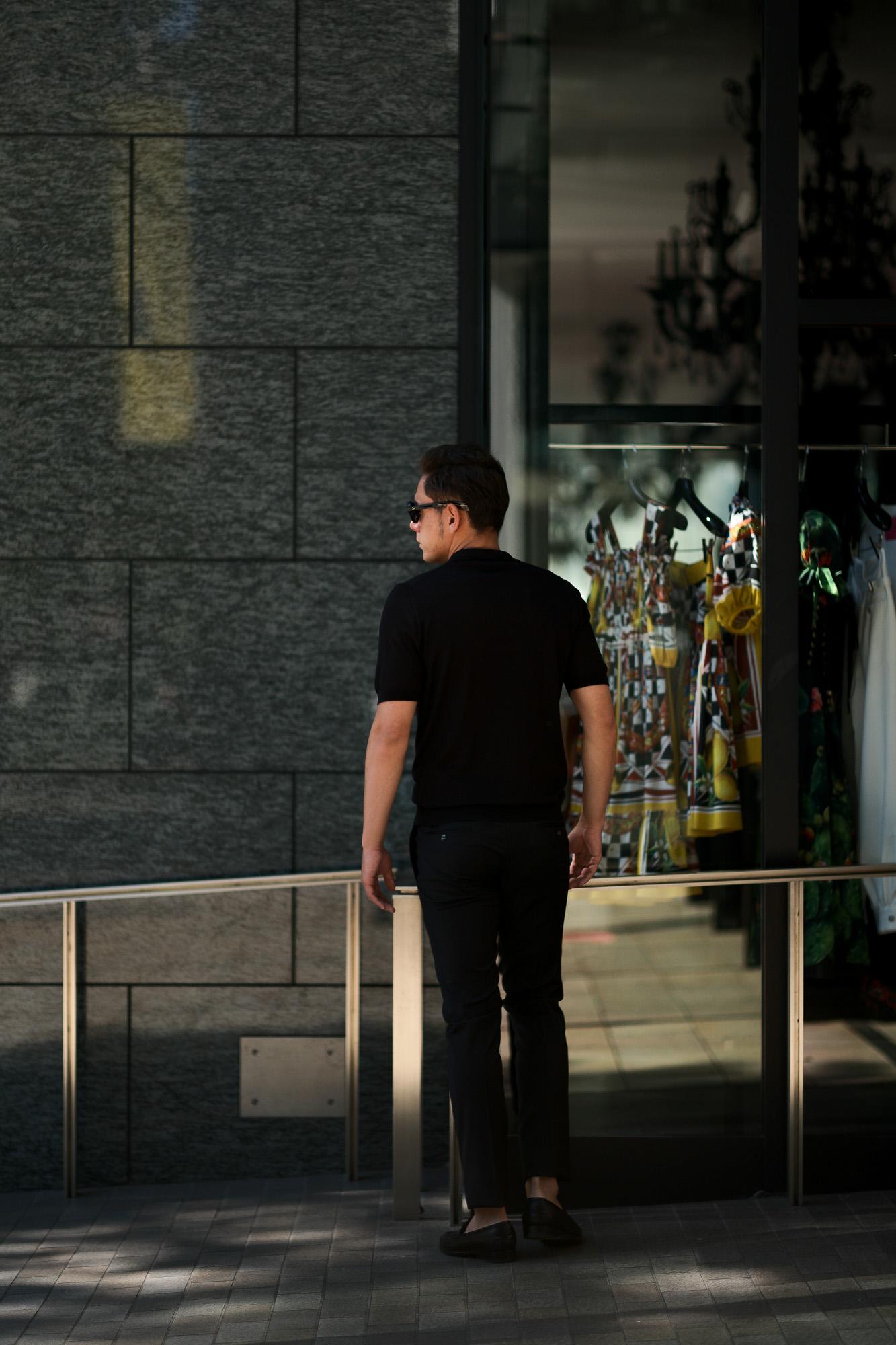 Gran Sasso (グランサッソ) Silk Knit Polo Shirt (シルクニット) SETA (シルク 100%) シルク ニット ポロシャツ BLACK (ブラック・099) made in italy (イタリア製) 2019 春夏新作 gransasso 愛知 名古屋 altoediritto アルトエデリット
