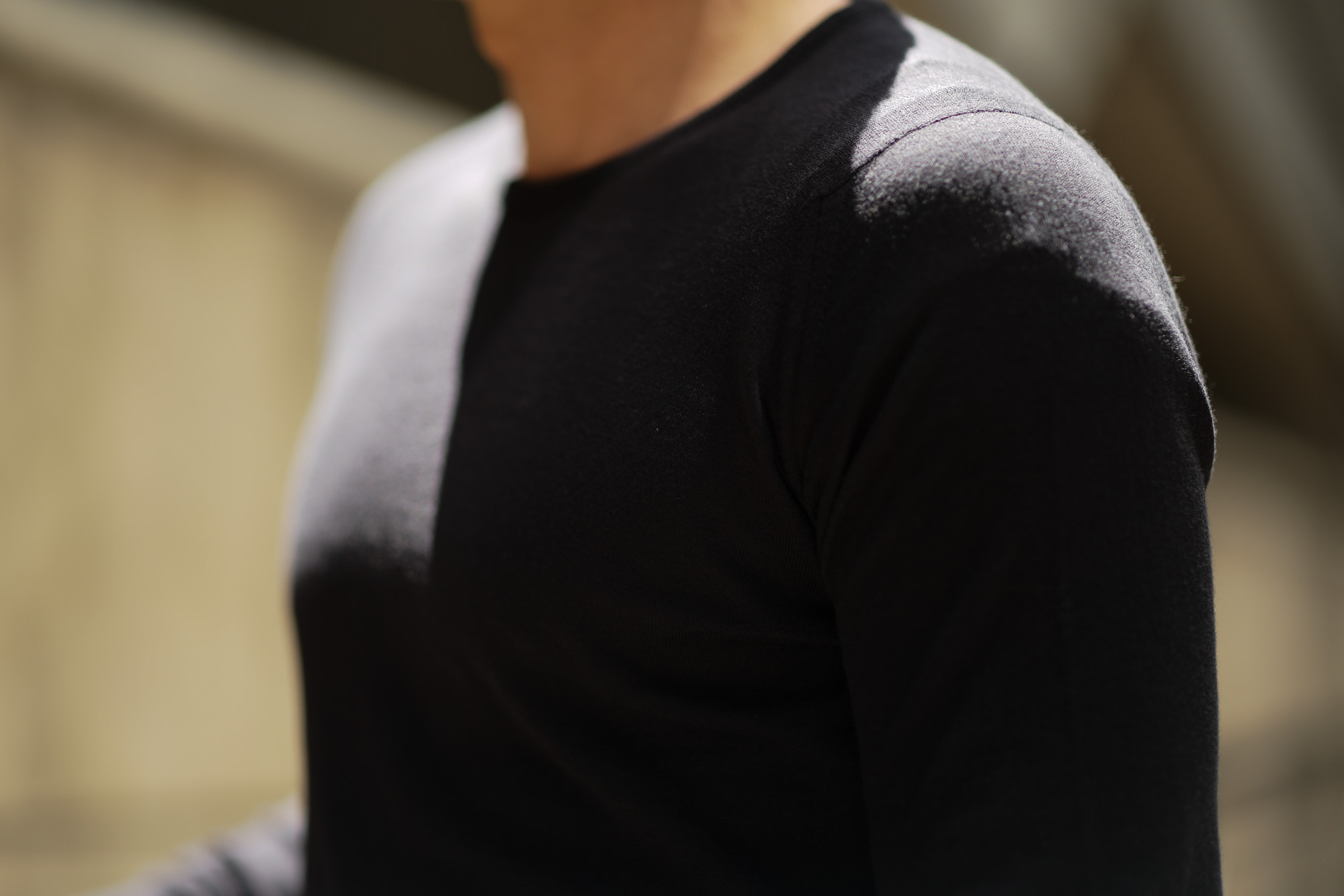 JOHN SMEDLEY (ジョンスメドレー) IMPERIAL KASHMIR (カシミアシリーズ) THEON (テオン) CASHMERE × SEA ISLAND COTTON コットンカシミヤニット セーター BLACK(ブラック) Made in England (イギリス製) 2019 春夏新作 johnsmedley 愛知 名古屋 altoediritto アルトエデリット