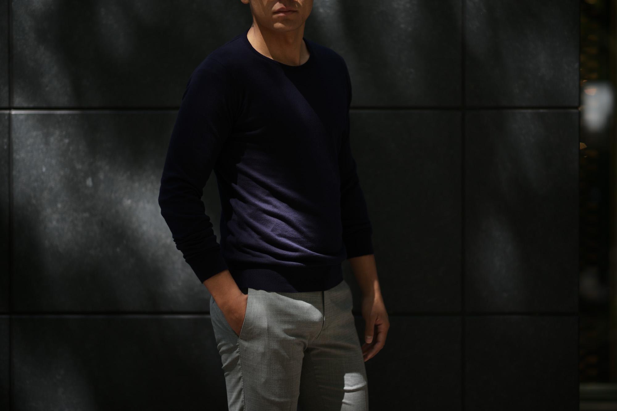 JOHN SMEDLEY (ジョンスメドレー) IMPERIAL KASHMIR (カシミアシリーズ) THEON (テオン) CASHMERE × SEA ISLAND COTTON コットンカシミヤニット セーター NAVY (ネイビー)  Made in England (イギリス製) 2019 春夏新作 johnsmedley 愛知 名古屋 altoediritto アルトエデリット