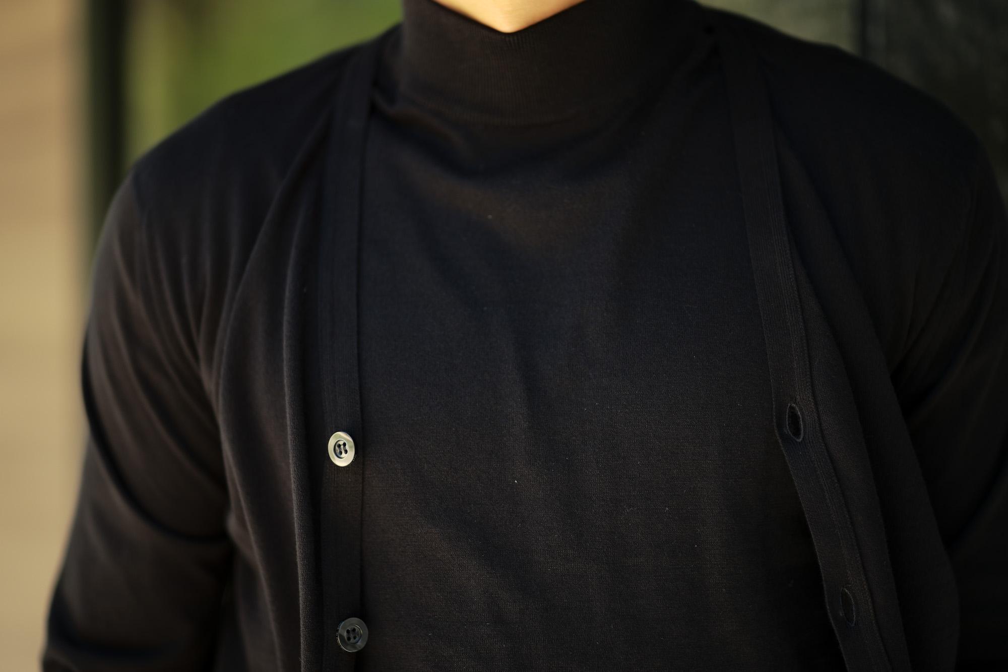 JOHN SMEDLEY (ジョンスメドレー) ISEO (イセオ) SEA ISLAND COTTON (シーアイランドコットン) コットンニット Vネック カーディガン BLACK (ブラック) Made in England (イギリス製) 2019 春夏新作 johnsmedley 愛知 名古屋 altoediritto アルトエデリット