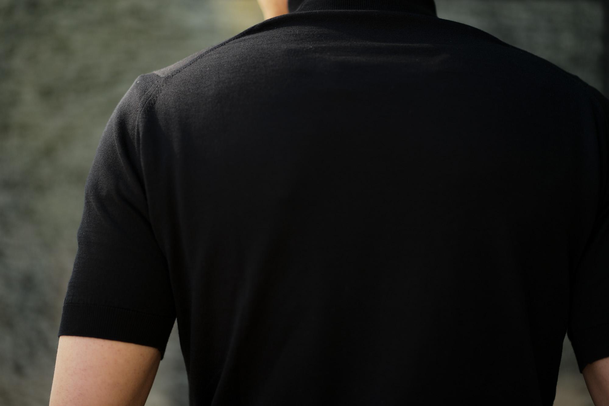 JOHN SMEDLEY (ジョンスメドレー) S3813 Mock neck T-shirt SEA ISLAND COTTON (シーアイランドコットン) コットンニット モックネック Tシャツ BLACK (ブラック) Made in England (イギリス製) 2019 春夏新作 johnsmedley 愛知 名古屋 altoediritto アルトエデリット